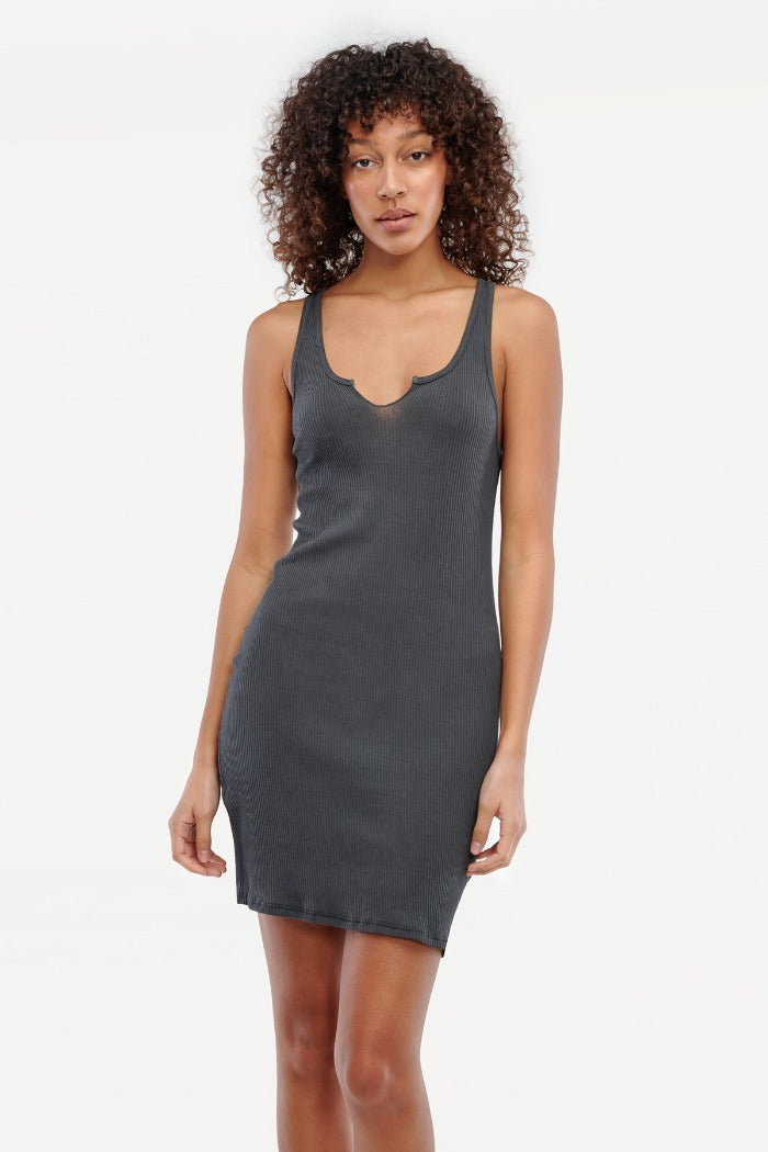 Lacausa ribbed Roxy slip dress slate grey | Pipe and Row boutique Seattle