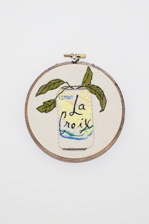 Lemon LA Croix cross stitch handmade | pipe and row seattle