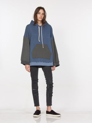 laila pulllover hoodie blue black contrast drifter | pipe and row