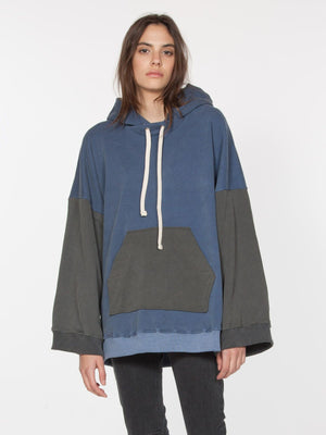 laila pulllover oversized hoodie blue black drifter | pipe and row