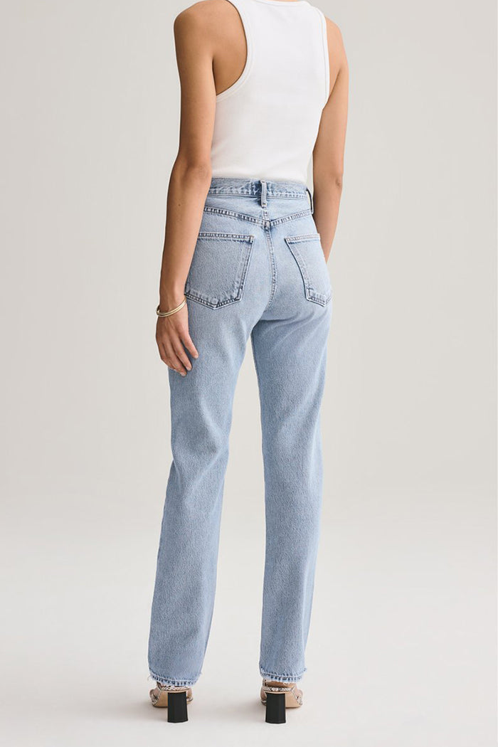 Agolde Lana straight leg jeans in riptide light blue | pipe and row boutique