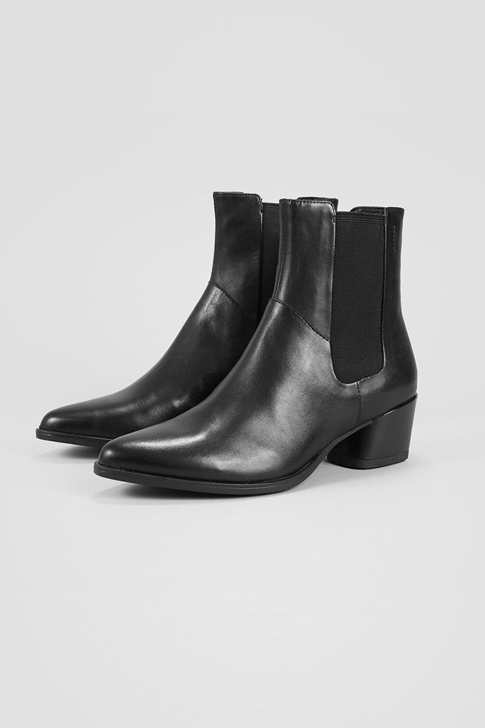 e4d488498 Vagabond Lara black leather, pointed toe, chelsea boots | Pipe and Row