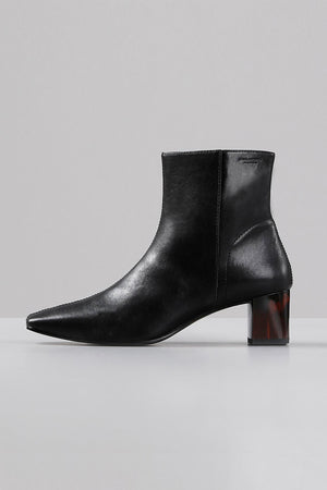 Vagabond black leather square toe ankle Leah Boots tortoise heel | pipe and row