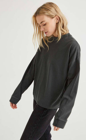 Richer Poorer relaxed thick stretch limo washed black long sleeve pullover | Pipe and row