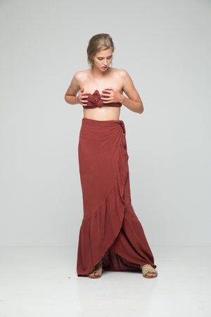Rue Stiic Maya Linen high waisted Midi Skirt Chilli Powder | pipe and row boutique seattle
