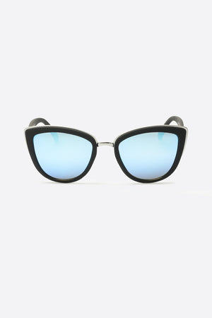 My Girl black frame blue mirror lens sunglasses cat eye quay | pipe and row