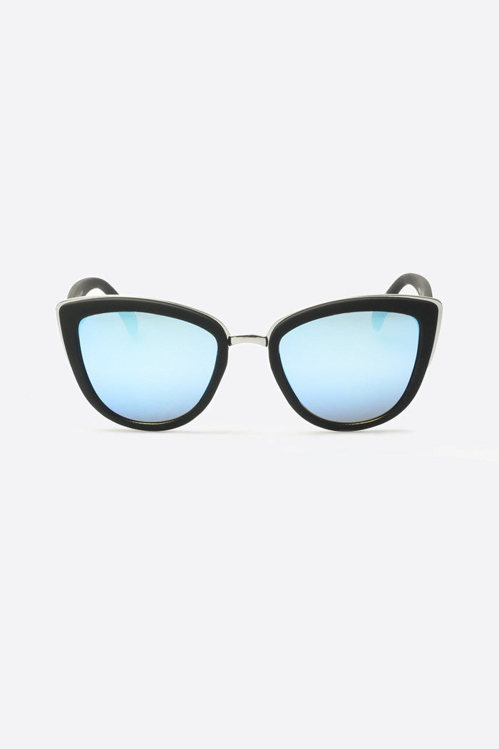 My Girl black frame blue mirror lens sunglasses cat-eye quay | pipe and row