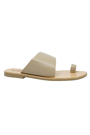 Sol Sana Malia slides in ecru light tan leather minimal  | Pipe and Row
