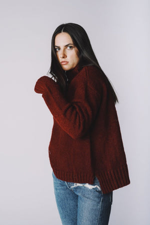 Pipe and Row staples Marie Step Hem sweater in burgundy pipe and row side slit