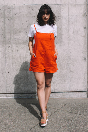 Matisse linen tomato short Overalls by lacausa | pipe and row