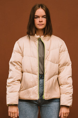 Paloma Wool Mitsubishi lime green and ivory reversible puffer coat | pipe and row boutique seattle