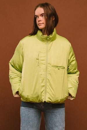 Paloma Wool Mitsubishi cream lime reversible puffer coat | pipe and row boutique seattle