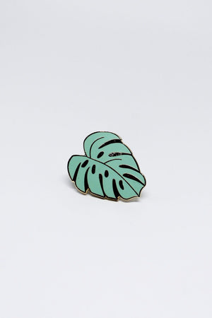 Monstera Leaf enamel pin green Hemleva | pipe and row gift boutique seattle