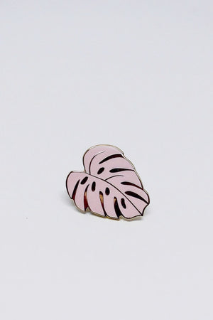 Monstera Leaf enamel pin illustrated pink Hemleva | pipe and row gift boutique seattle