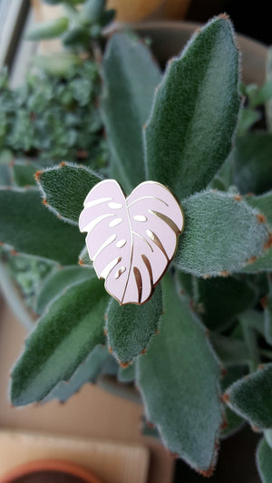 Monstera Leaf enamel plant pin illustrated pink Hemleva | pipe and row gift boutique seattle