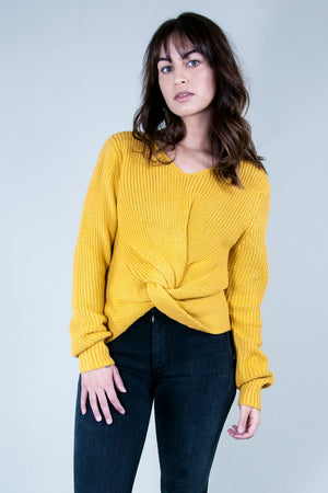 Jojo knot twist front mustard yellow reversible sweater Pipe and Row boutique