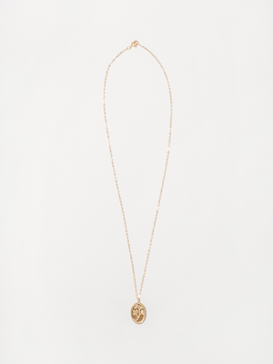 Wolf Circus Fleur engraved flower necklace minimal gold | pipe and row boutique seattle
