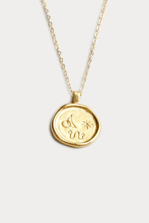 Wolf Circus engraved Miro gold pendant Necklace recycled Joan Miró | Pipe and Row