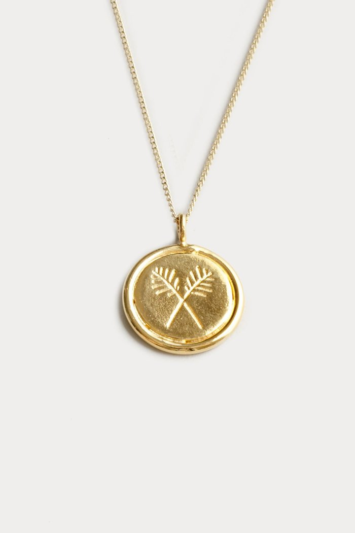 Wolf Circus Palm pendant necklace gold | pipe and row