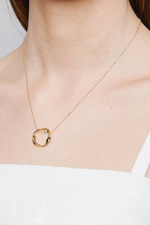 mini textured pendent oval necklace 14k gold wolf circus | pipe and row