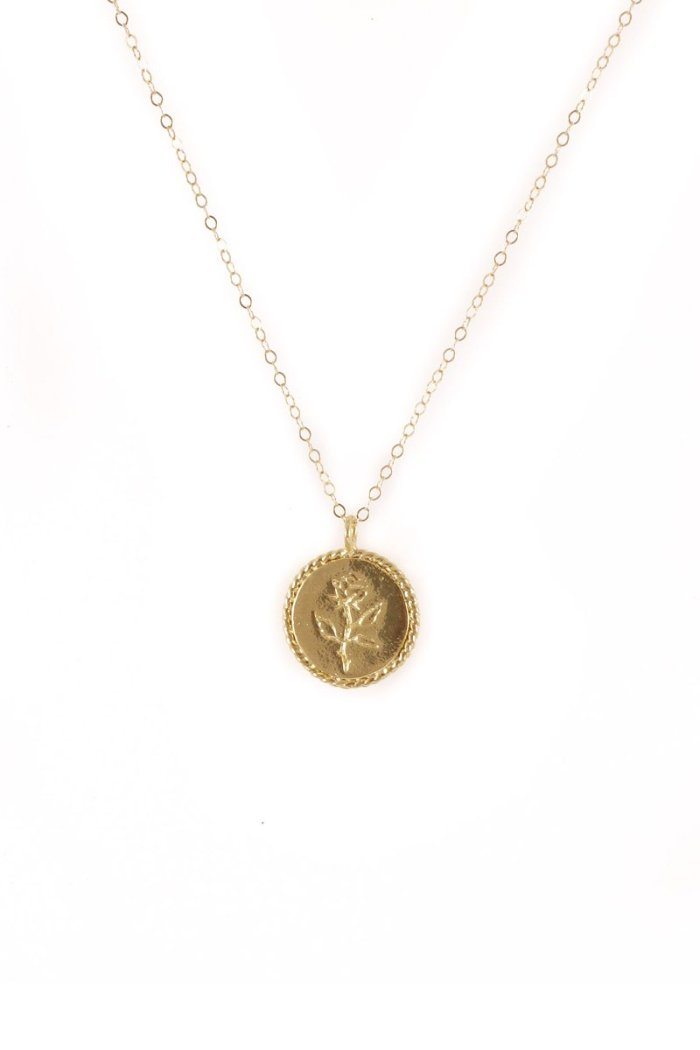 Wolf Circus engraved Rose Coin necklace 14k gold | Pipe and Row Seattle