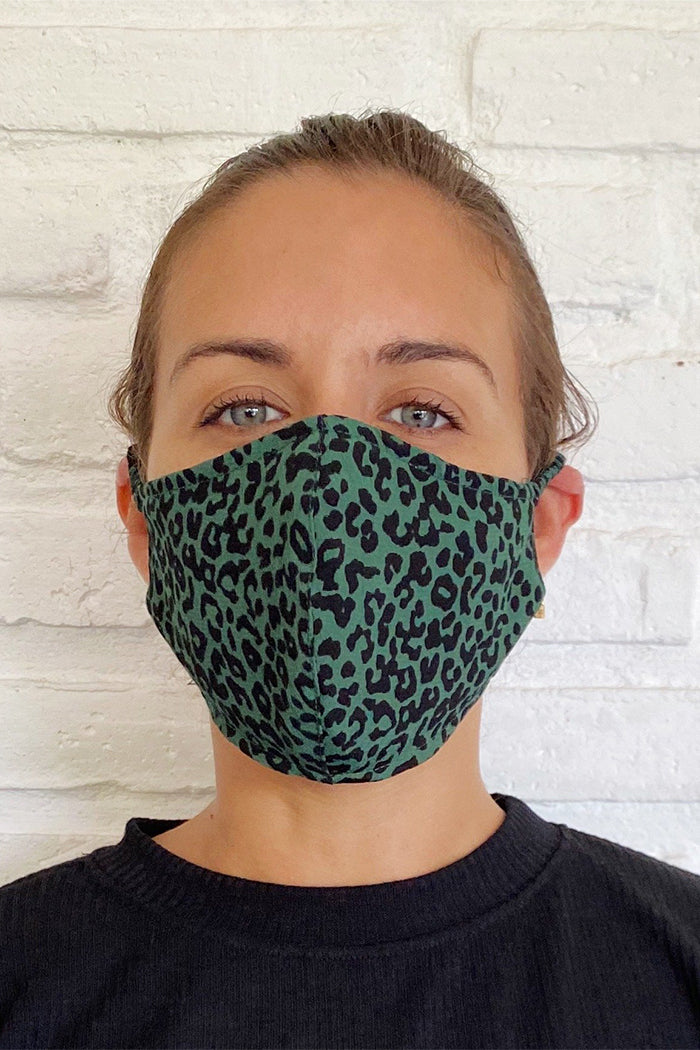 FACE MASK GREEN LEOPARD