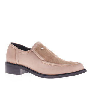 NANCY PONY BAR NUDE LEATHER LOAFERS