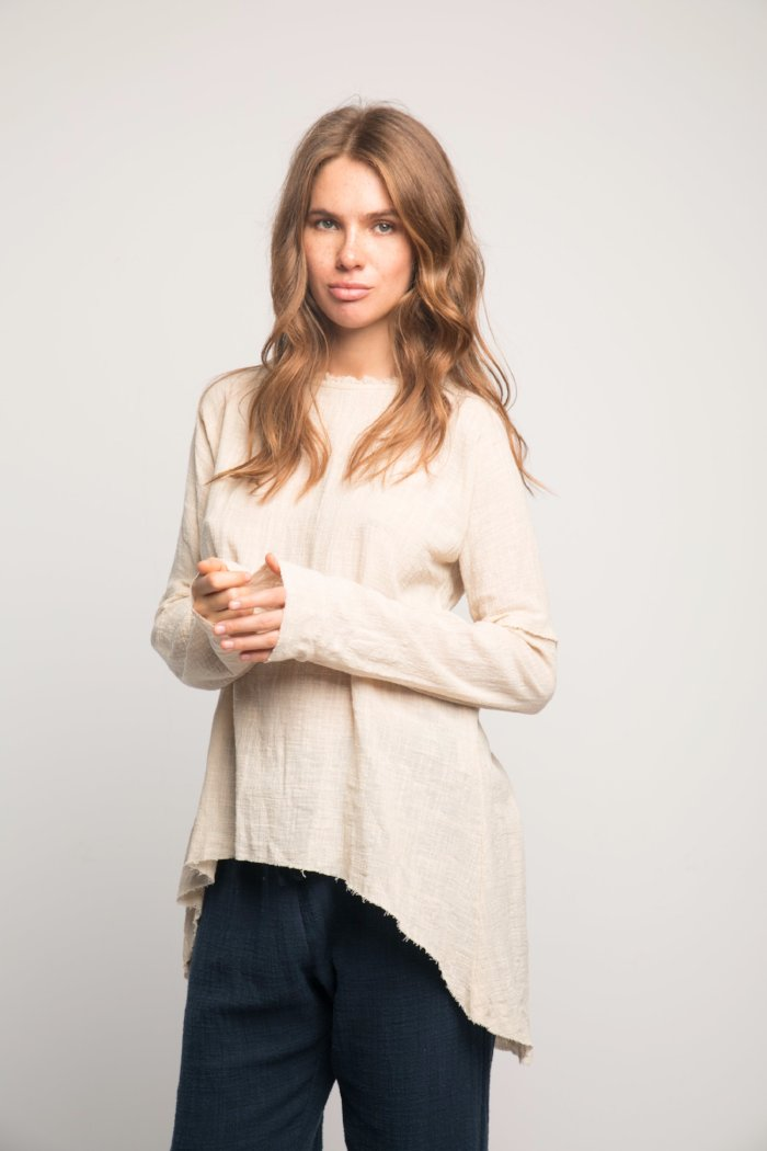 Rue Stiic Nena tunic new sand linen | Pipe and Row Seattle Boutique