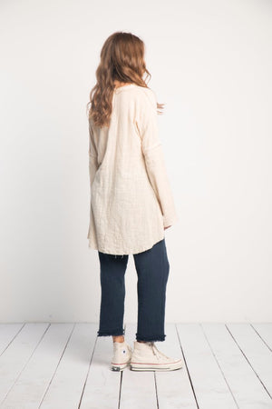 Rue Stiic Nena tunic new sand linen long sleeve | Pipe and Row Seattle Boutique
