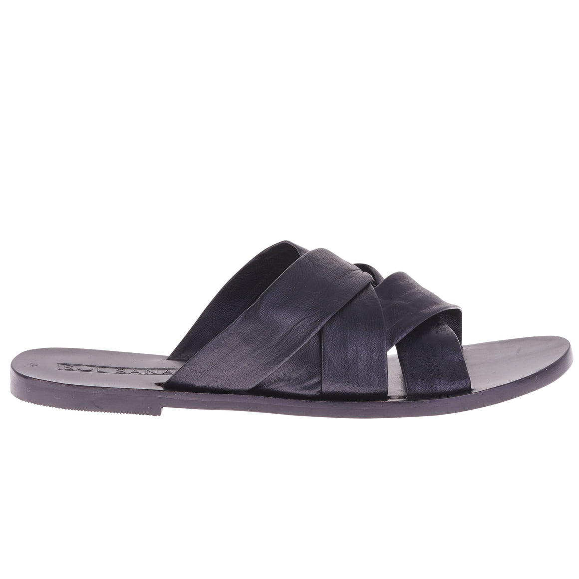 Nora Criss Cross Slides black Sandals | PIPE AND ROW BOUTIQUE