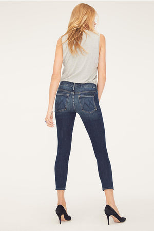 Mother denim skinny Looker Crop dark blue on the edge wash comfortable | Pipe and Row