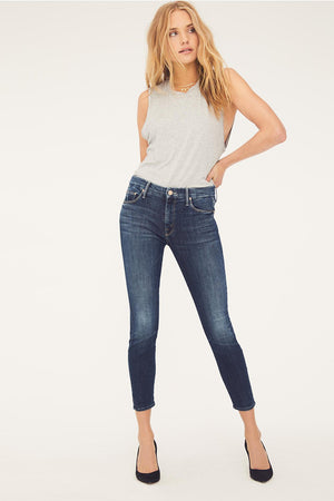 Mother denim skinny Looker Crop dark blue on the edge wash meghan markle style | Pipe and Row