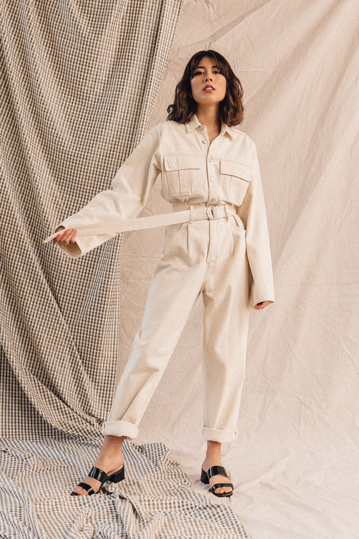 Pipe and Row Agolde Tatum Denim Jumpsuit Paper Spring 2020
