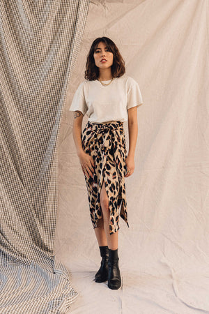 Never Fully Dressed silky leopard print Adelaide midi high waist skirt | pipe and row