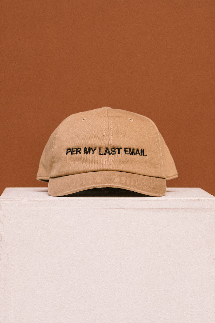 PER MY LAST EMAIL HAT