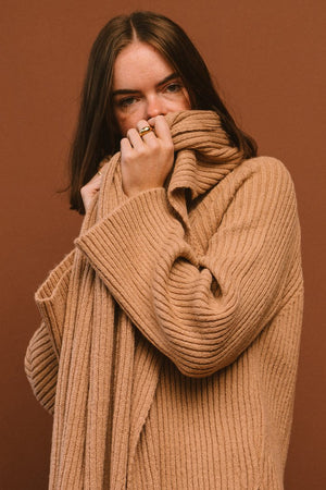 Mijeong Park camel ribbed turtleneck sweater with scarf | pipe and row