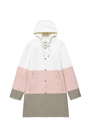 Stutterheim Mosebacke pale pink stripe rain jacket women | pipe and row boutique