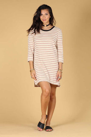 Patsy long sleeve Stripe tee dress Knot sisters | pipe and row