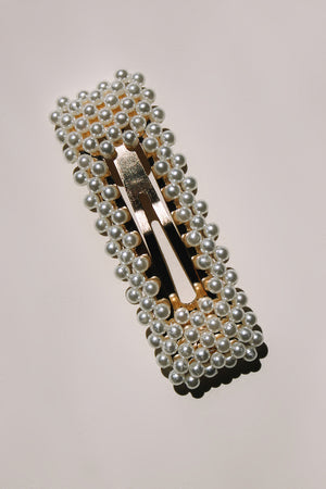 Pearl hair clip barrette gold metal modern | Pipe and Row boutique