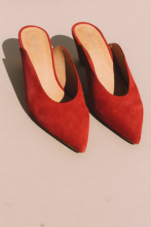 Per mule suede dark cherry red by Intentionally Blank | PIPE AND ROW