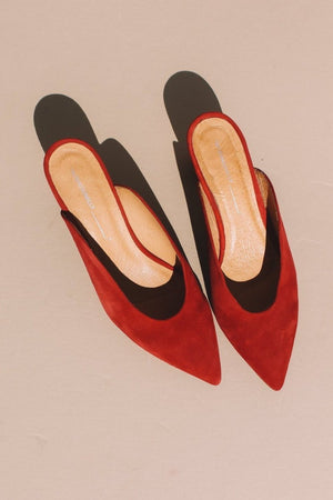 Per mule shoes in suede dark cherry red by Intentionally Blank | PIPE AND ROW boutique