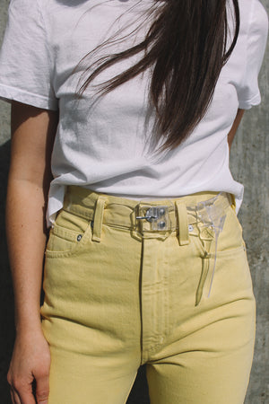 Agolde Pinch waist, high rise kick lemon yellow clear belt | Pipe and Row