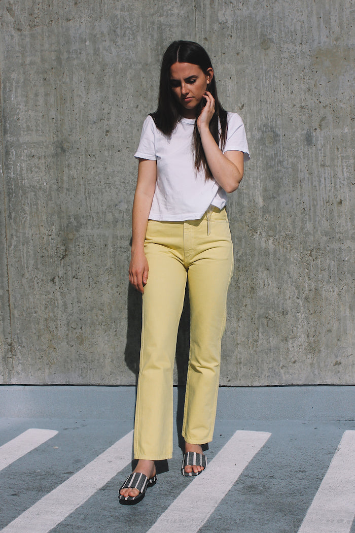 Agolde Pinch waist, high rise kick in lemon yellow | Pipe and Row