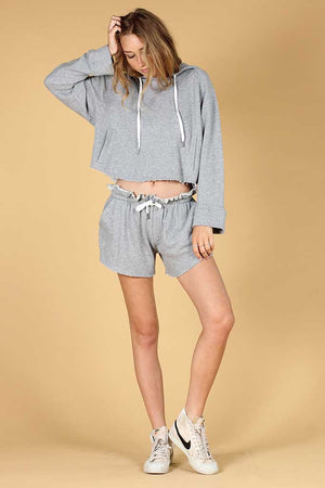 KNOT SISTERS PINE CUT-OFF SWEATSHIRT GREY | PIPE AND ROW BOUTIQUE SEATTLE