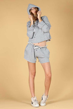 KNOT SISTERS PINE CUT-OFF CROPPED FRAY SWEATSHIRT GREY | PIPE AND ROW BOUTIQUE SEATTLE