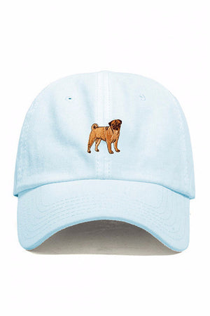DOG LIMITED PUG EMBROIDERED DAD HAT BABY BLUE| PIPE AND ROW
