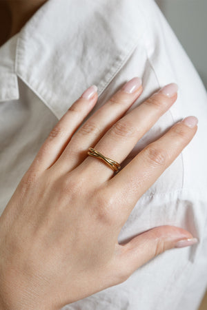 Wolf Circus linked gold Celine ring recycled metals modern simple | Pipe and Row
