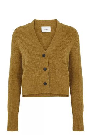 Just Female Rebelo knit caridgan brown dried tobacco boxy rib knit | PIPE AND ROW