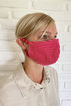 Rue Stiic face mask red check linen Handmade in Bali dead stock fabric woman owned | pipe and row boutique