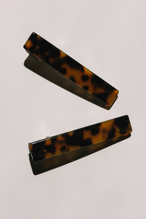Resin rectangle hair clip barrette brown tortoise | pipe and row boutique seattle